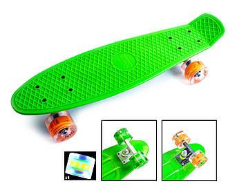 Классический пенниборд (Penny Board) с подсветкой колес Зеленый цвет