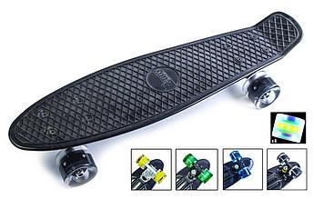 Классический пенниборд (Penny Board) с подсветкой колес Черный цвет