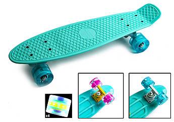 Классический пенниборд для девочек (Penny Board) с подсветкой колес серии Pastel Бирюзовый цвет