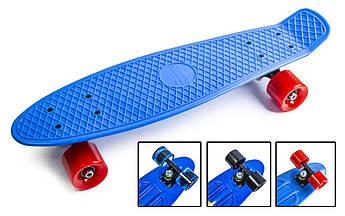 Подростковый пенниборд (Pennyboard) с матовыми колесами Синий цвет