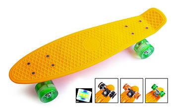 Классический пенниборд (Penny Board) с подсветкой колес Оранжевый цвет