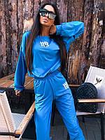 Модный женский костюм спортивный с джоггерами синий