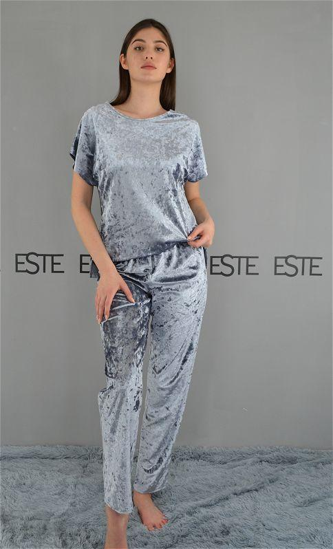 Пижама женская футболка и штаны Este велюровая серебристая.