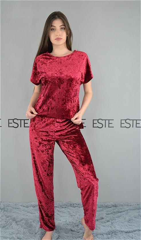 Пижама женская футболка и штаны Este велюровая бордовая.