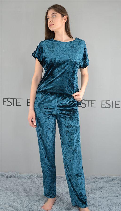 Пижама женская футболка и штаны Este велюровая изумрудная.