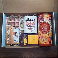 Подарочный бокс для мамы: чашка керамическая с надписью, чай, шоколад. Готовый подарок маме на новый год