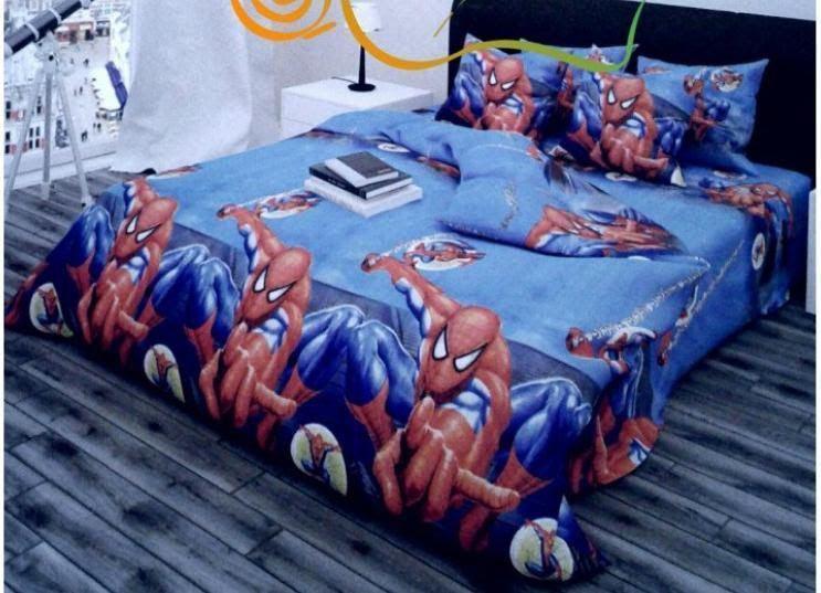 Детское полуторное постельное белье человек паук спайдермен