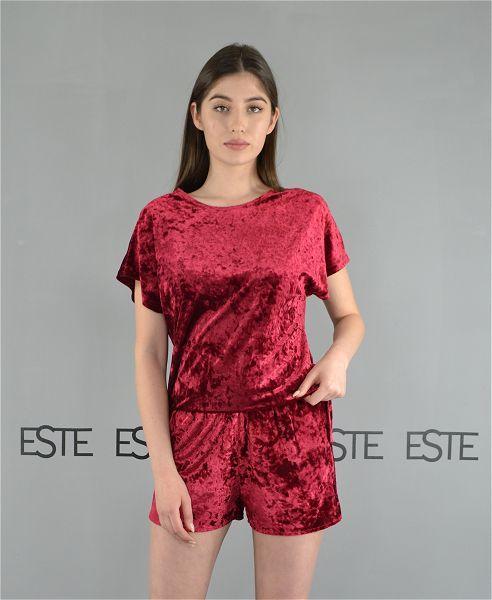 Женская пижама футболка и шорты Este велюровая бордовая.
