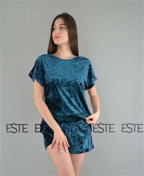 Жіноча піжама футболка і шорти Este велюрова пудрова.