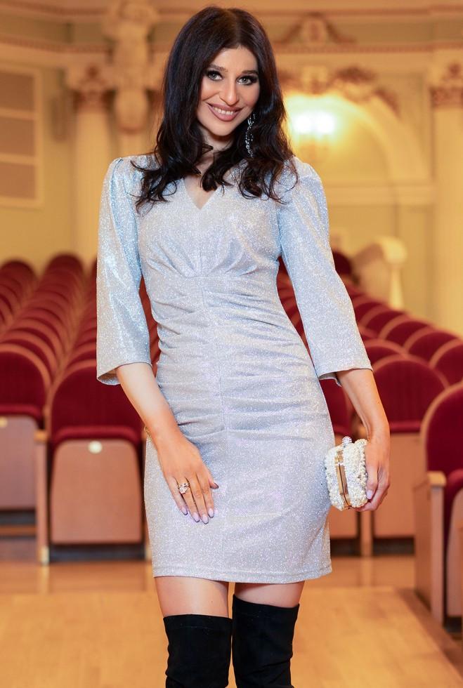 Платье Вивьен серебро m l