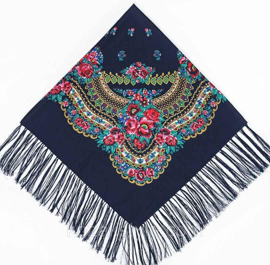 Українська хустка народна темно-синя (120х120)