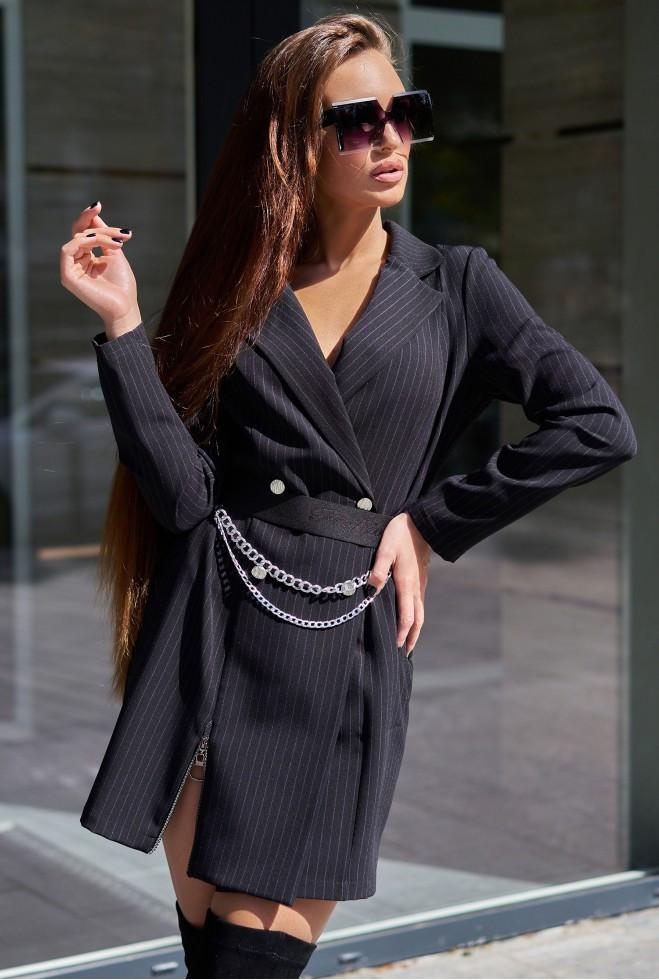 Платье Эвия с ремнем черный xl