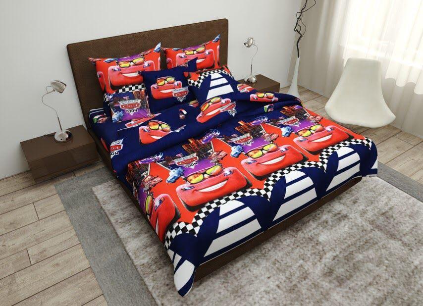 Детское полуторное постельное белье Маквин тачки