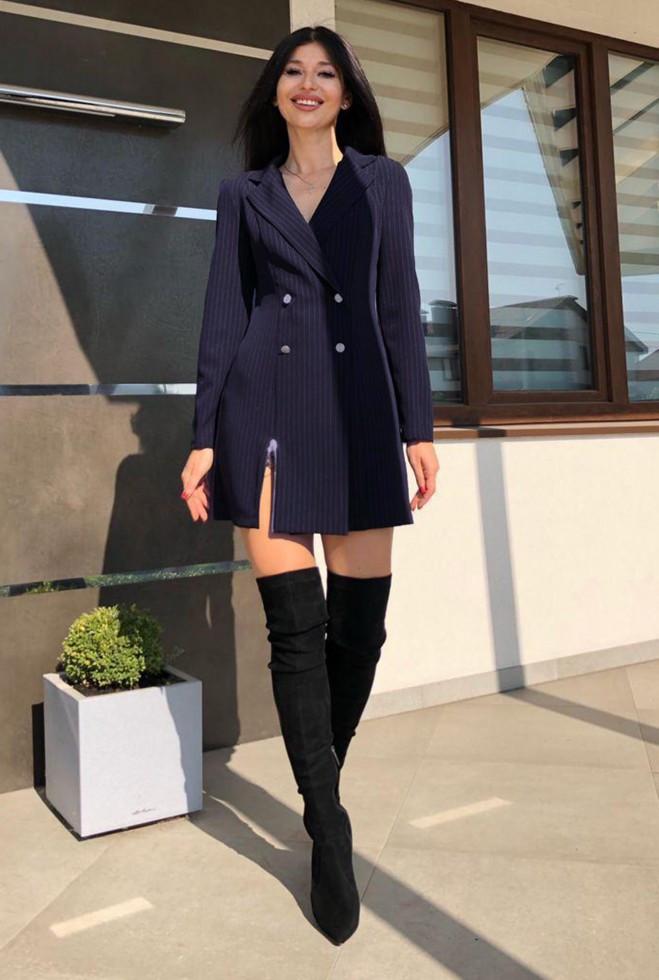 Платье Эвия без ремня  тёмно-синий m