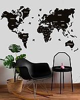 Дерев'яна Настінна Декоративна Карта Світу на стіну з дерева - Чорна