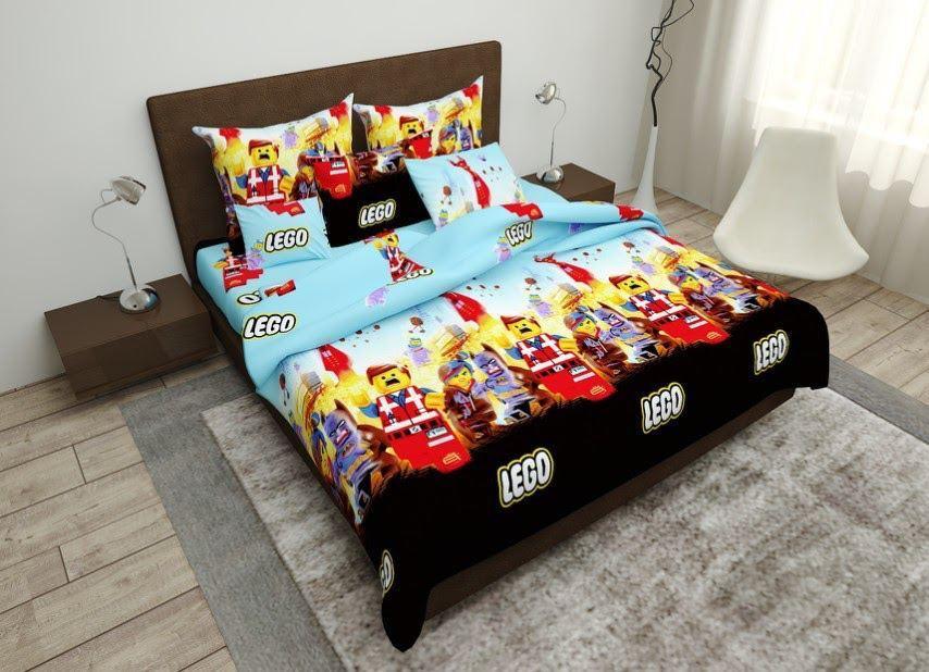 Детское полуторное постельное белье Лего