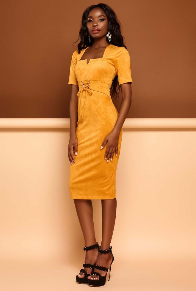 Платье Виолетта горчица s