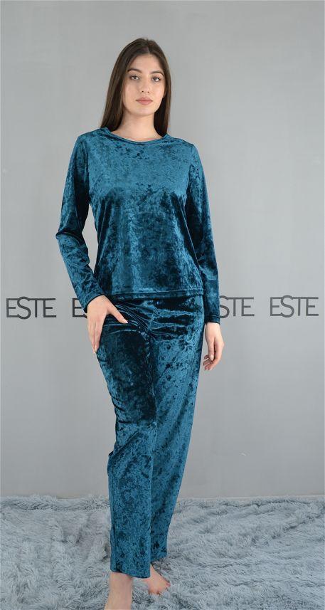 Пижама женская велюровая Este теплая кофта и штаны темно-зеленая.