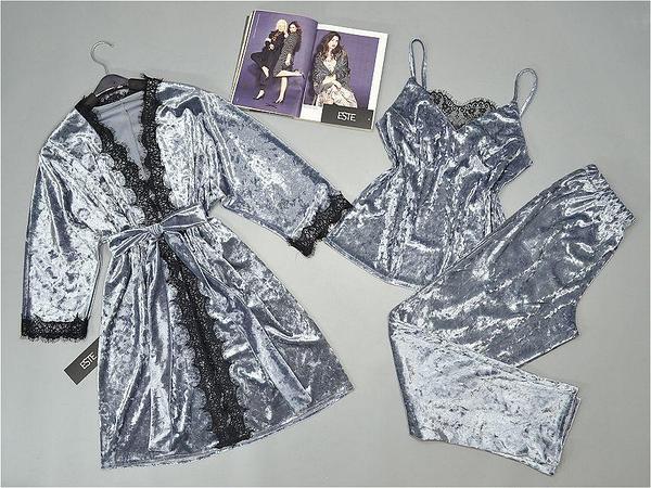 Велюровый комплект домашней одежды халат с пижамой (майка штаны). Размеры 42-44, 46-48.