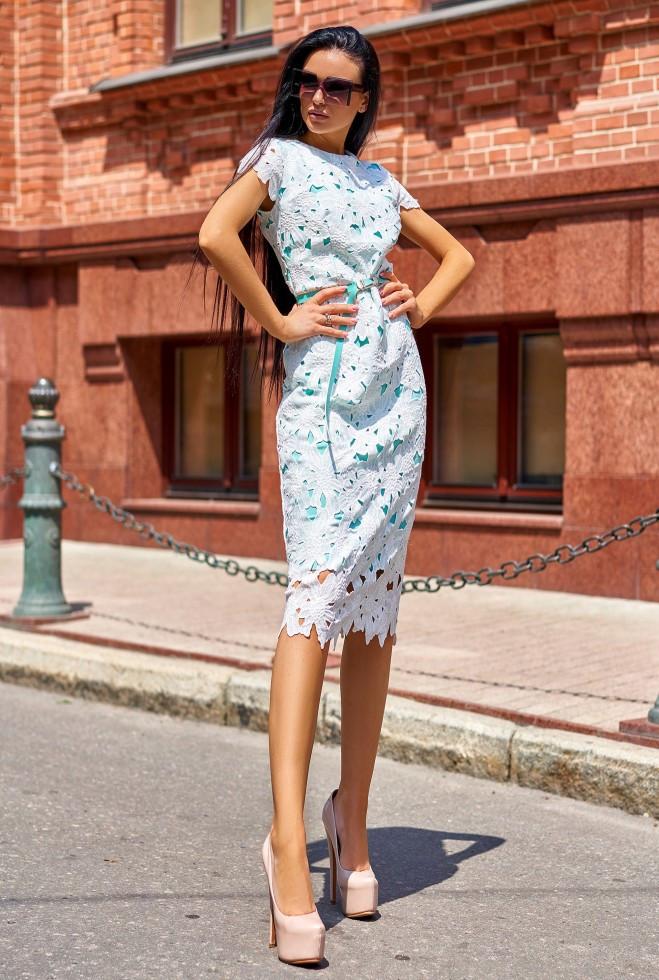 Платье Лика без ремня бирюзовый l