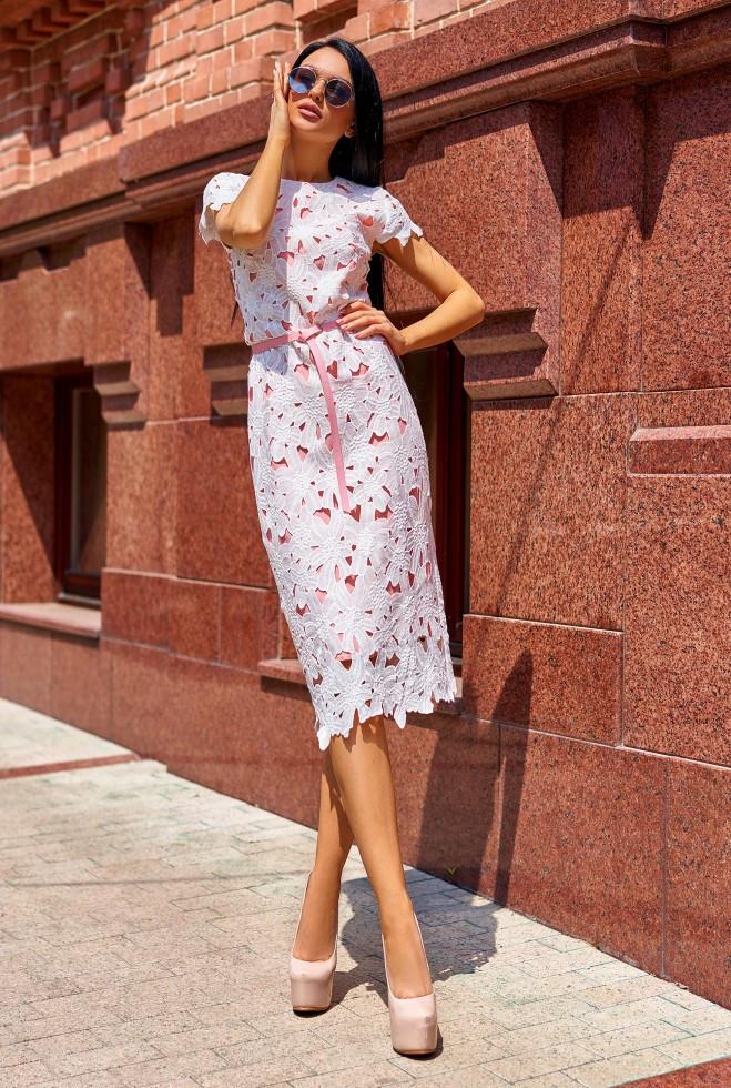 Платье Лика без ремня персиковый l