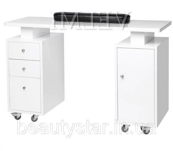 Двотумбовий манікюрний стіл для салону краси ЭлитVM110 розміри столу для манікюру 120х77х45 см