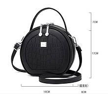 Сумка женская круглая Prada маленькая, модная и стильная мини сумочка для девушки Прада Черный