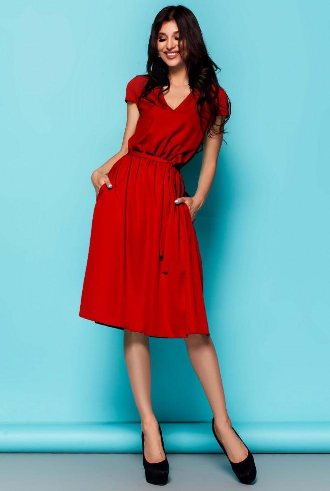 Платье Лина красный xl