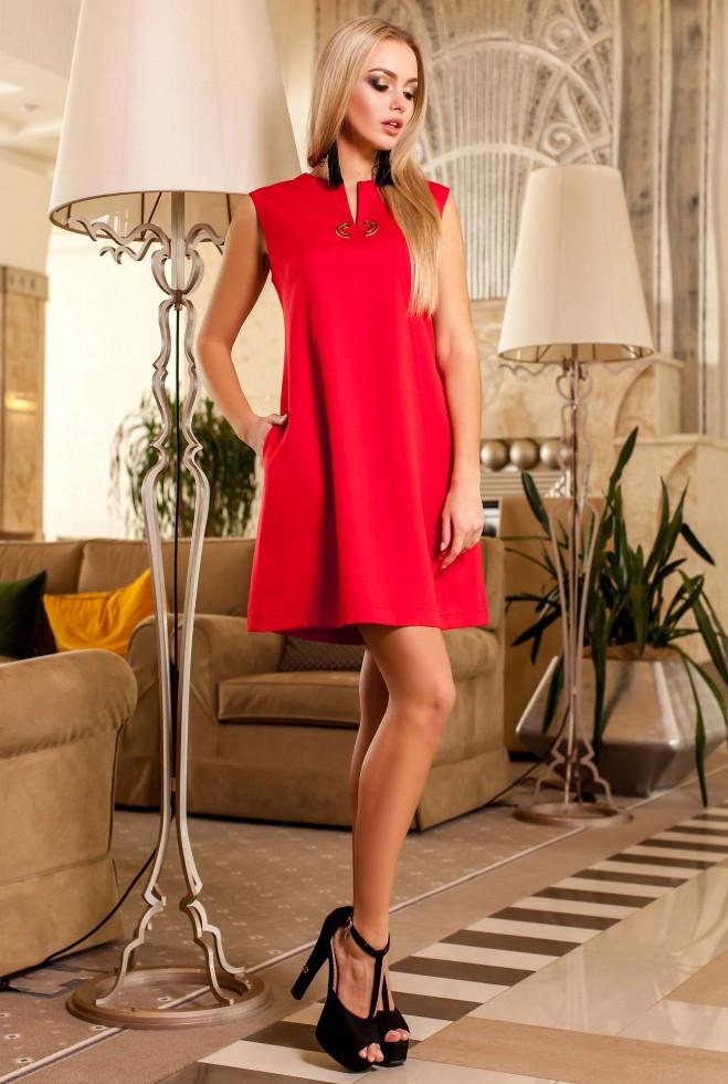 Платье-туника Кетти красный m