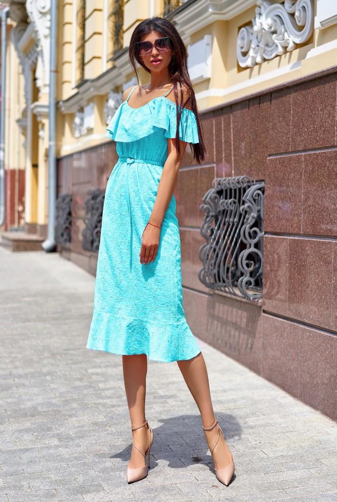 Платье Клео без ремня бирюзовый m