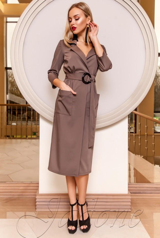Платье на запах Кейси коричневый l