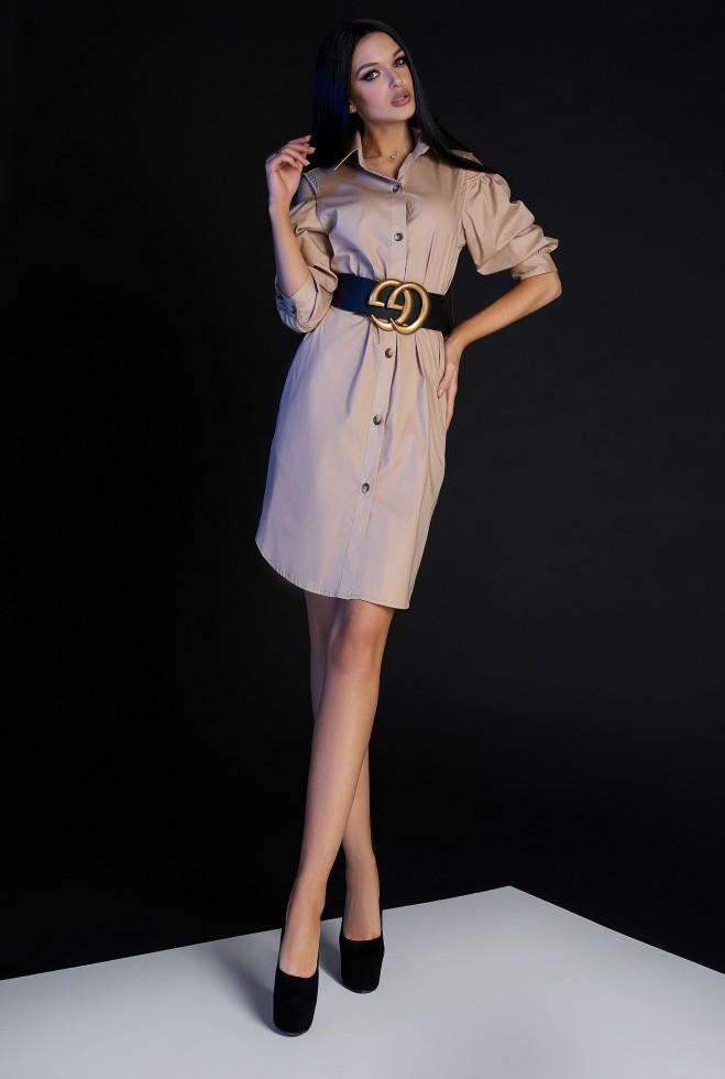 Платье-туника Кира без ремня бежевый s