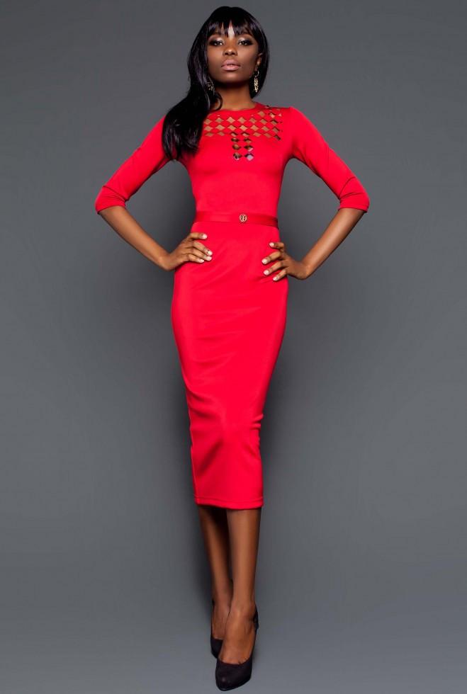 Платье Деним красный xl
