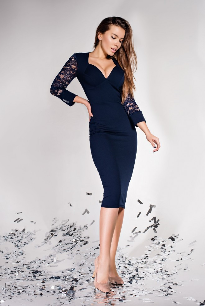 Платье Лазури тёмно-синий l
