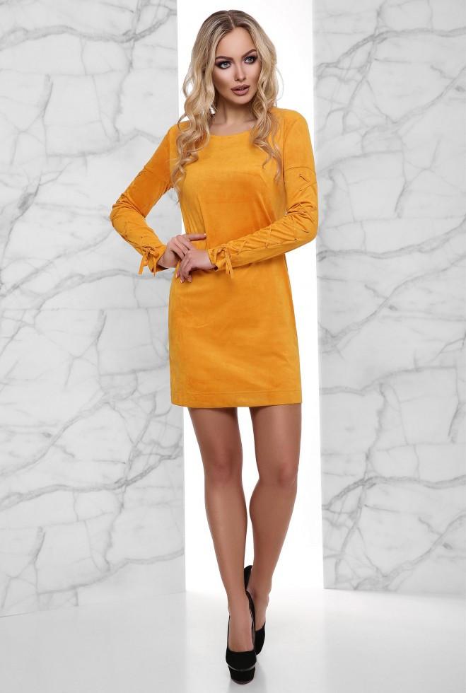 Платье Дениз горчица xl