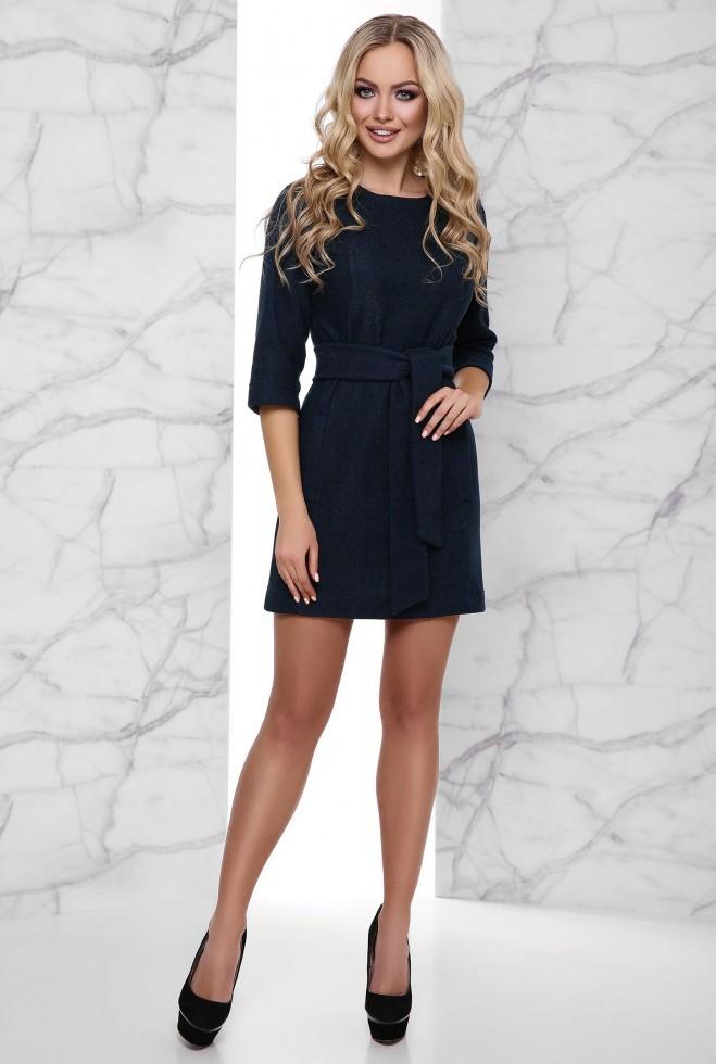 Теплое Платье Амина тёмно-синий s