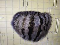 Женская норковая резинка на голову серо-черная