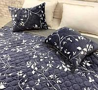 Покривало з подушками темно-синє