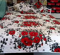Покривало з подушками маки