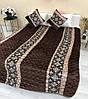 Покривало з подушками коричневе забарвлення