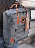 Модный рюкзак - сумка канкен 16 Fjallraven Kanken classic No2 серый с коричневыми ручками для девочки, женский, фото 2
