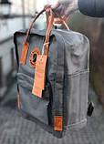 Модный рюкзак - сумка канкен 16 Fjallraven Kanken classic No2 серый с коричневыми ручками для девочки, женский, фото 4