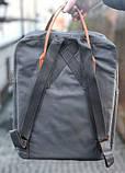 Модный рюкзак - сумка канкен 16 Fjallraven Kanken classic No2 серый с коричневыми ручками для девочки, женский, фото 3
