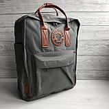 Модный рюкзак - сумка канкен 16 Fjallraven Kanken classic No2 серый с коричневыми ручками для девочки, женский, фото 7