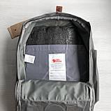 Модный рюкзак - сумка канкен 16 Fjallraven Kanken classic No2 серый с коричневыми ручками для девочки, женский, фото 10