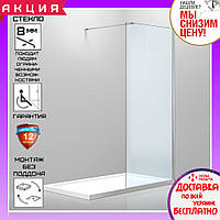 Душевая стеклянная перегородка 100x200 см Volle Walk-In 18-08-100H прозрачная