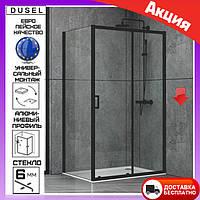 Прямоугольная душевая кабина 120х80 см дверь раздвижная Dusel EF-185B+EF181B Black Matt черный профиль