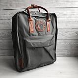 Рюкзак - сумка с коричневыми ручками канкен серый 16 литров Fjallraven Kanken No.2 женский, для девочки, фото 2