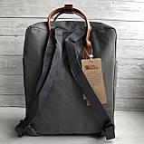 Рюкзак - сумка с коричневыми ручками канкен серый 16 литров Fjallraven Kanken No.2 женский, для девочки, фото 6