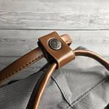 Рюкзак - сумка с коричневыми ручками канкен серый 16 литров Fjallraven Kanken No.2 женский, для девочки, фото 5